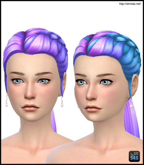 Simista: Pony Braid Side Edit Multi Colours for Sims 4