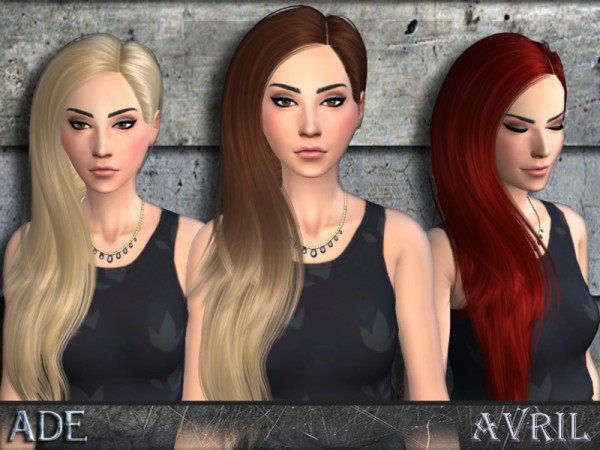 The Sims Resource: Avril hairstyle by Ade Darma for Sims 4