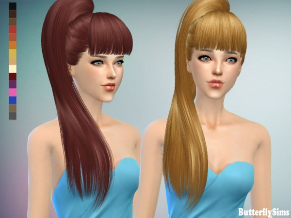 Butterflysims: Hairstyle 138 No hat for Sims 4