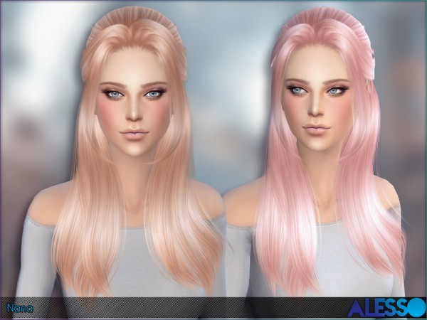 The Sims Resource: Nana hairstyle by Alesso for Sims 4