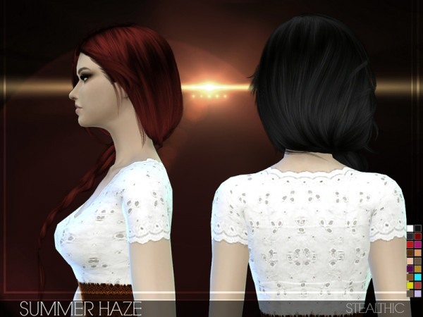 Stealthic: Summer Haze hairstyle by Stealthic for Sims 4