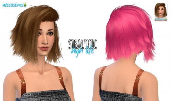 Nessa sims: Stealthic High Life hairstyle retextured for Sims 4
