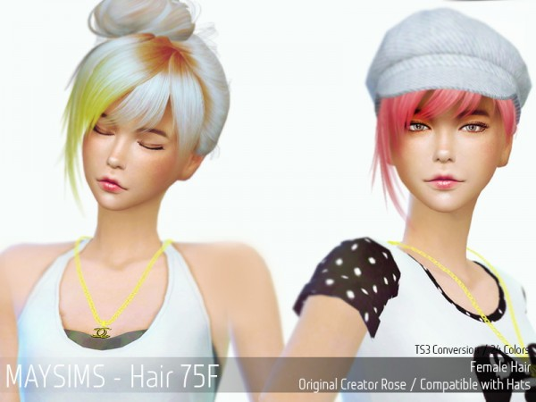 MAY Sims: May Hairstyle 75F retextured for Sims 4