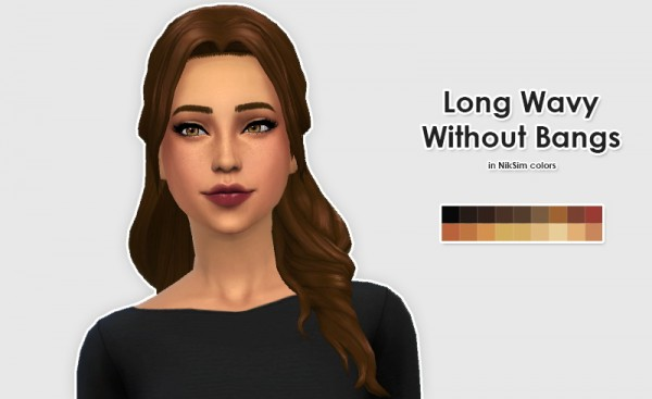 Ellesmea: Kiara24 Long Wavy Without Bangs & KiwiSims Sideswept Banging Bangs hairstyles for Sims 4