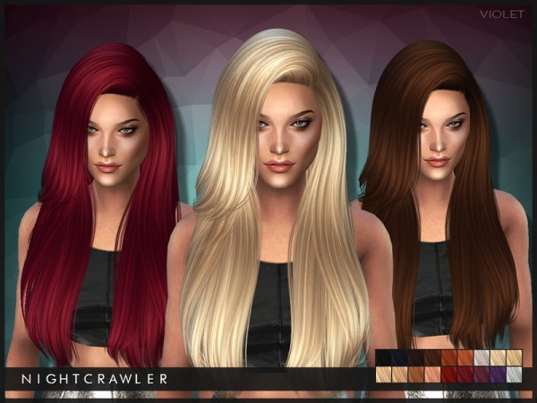 The Sims Resource: Violet hairstyle by Nightcrawler  for Sims 4