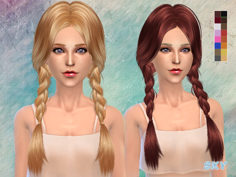 Sims 4 Hairs The Sims Resource Double Braids Hairstyle K 129 By Skysims