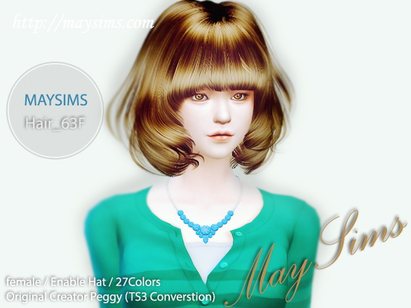 MAY Sims: May hairstyle 63F for Sims 4
