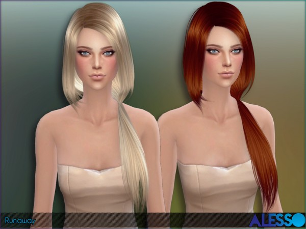 The Sims Resource: Runaway hairstyle by Alesso for Sims 4