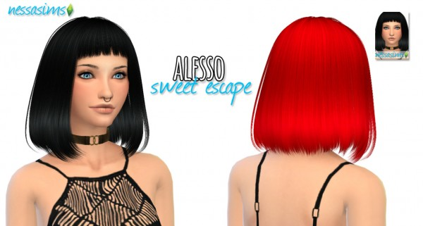 Nessa sims: Alesso`s Sweet Escape hairstyle retextured for Sims 4