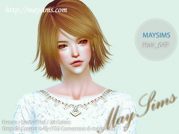 MAY Sims: May Hairstyle 64F for Sims 4