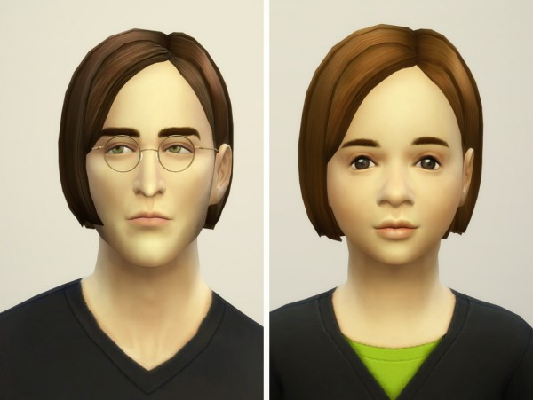 Rusty Nail: Bangs side swept hairstyle retextured V2 for Sims 4