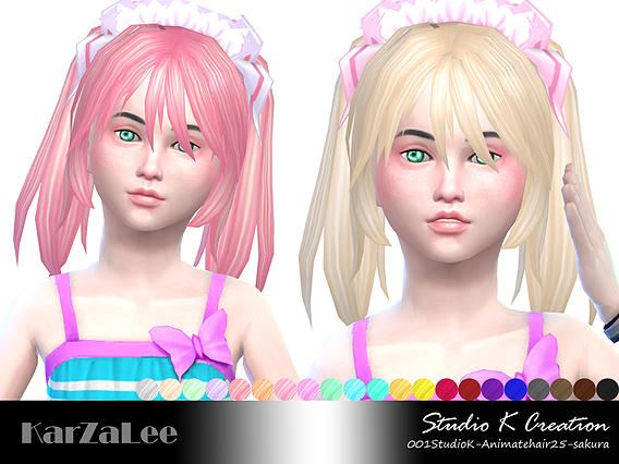 Studio K Creation: Animate hairstyle 25   Sakura for Sims 4