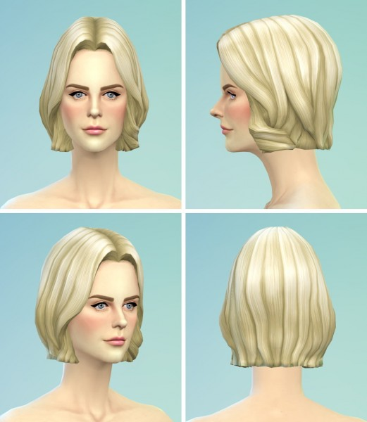 Rusty Nail: Long wavy parted hairstyle for Sims 4