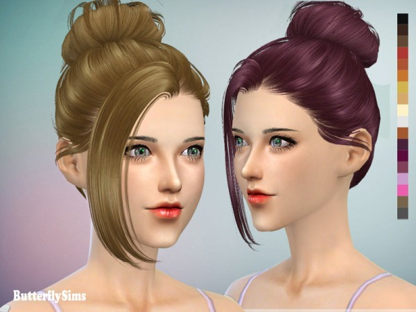 Butterflysims: Up bun hairstyle 060 2 for Sims 4