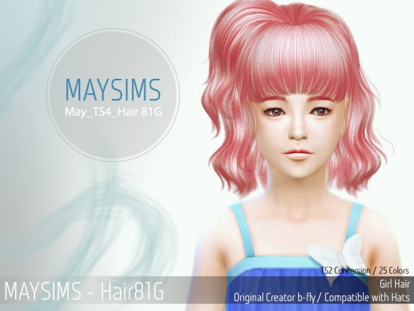 MAY Sims: May 81G  hairstyle  retextured for Sims 4