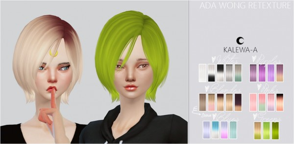 Kalewa a: Ada Wong hairstye retextured for Sims 4