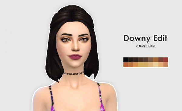 Ellesmea: Kiara24 & Nyloa hairstyle retextured for Sims 4