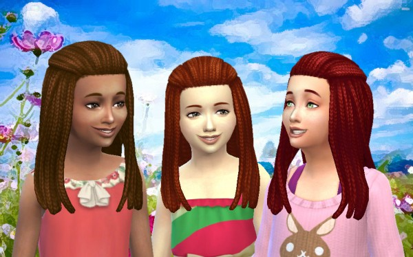 Mystufforigin: Long Braided Pulled Back for Sims 4