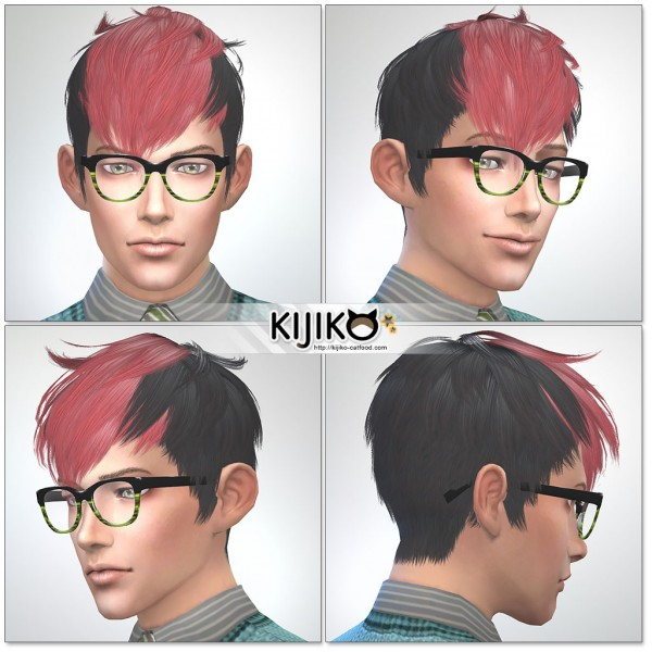 Kijiko Sims: Panda Kang Kang hairstyle retextured for Sims 4