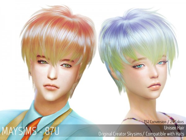 MAY Sims: May Hairstyle 87U retextured for Sims 4