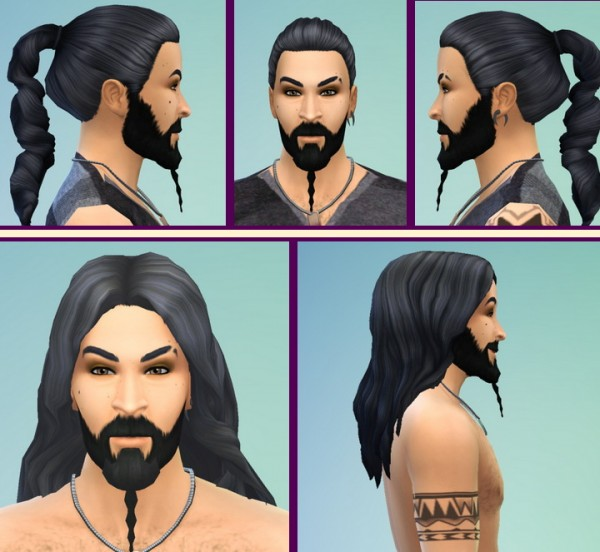 Birksches sims blog: Kahl Hairstyle with braid and Kahl Drogo Hairstyle long for Sims 4