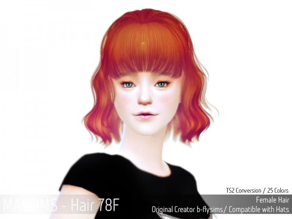 MAY Sims: May hairstyle 78F retextured for Sims 4