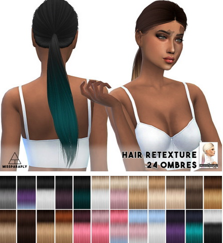Miss Paraply: Alesso`s Rocket hairstyle ombre retextured for Sims 4