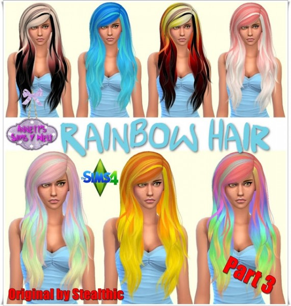 Annett`s Sims 4 Welt: Rainbow Hairstyle   Part 3   Original by Stealthic for Sims 4