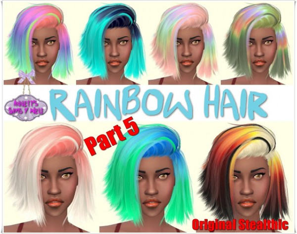 Annett`s Sims 4 Welt: Rainbow Hairstyle   Part 5   Original Stealthic for Sims 4