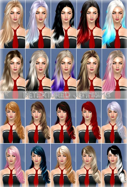 Jenni Sims: Skysims hairstyles retextured for Sims 4