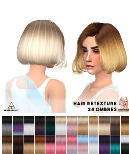 Miss Paraply: Alesso Studio ombre hairstyle retextured for Sims 4