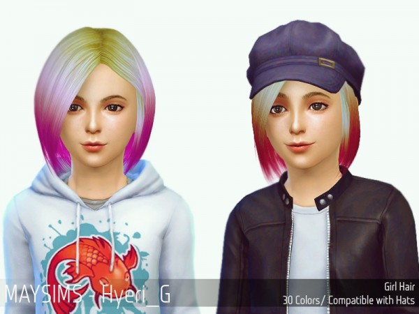 MAY Sims: May Hyeri G hairstyle retextured for Sims 4