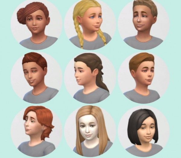 Vicarious Living: All Child Hairstyles retextured for Sims 4