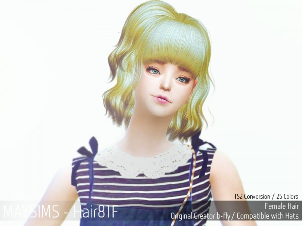 MAY Sims: May Hairstyle 81F retextured for Sims 4