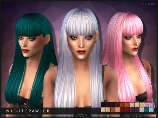 The Sims Resource: Poison hairstyle by Nightcrawler for Sims 4
