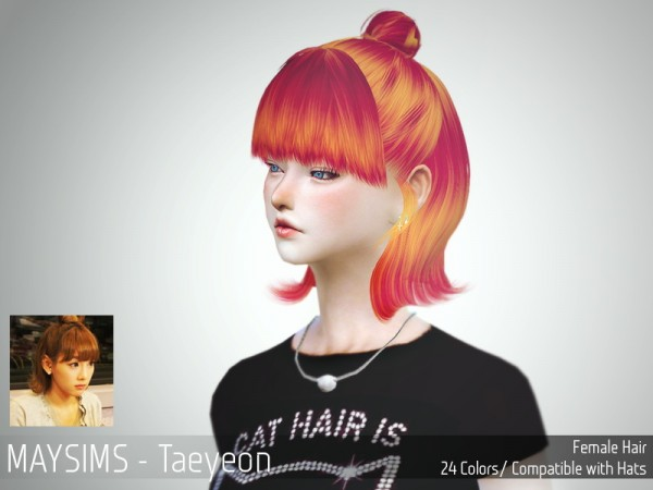 MAY Sims: May Hairstyle Taeyeon for Sims 4