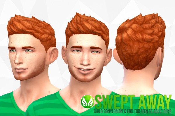 Simsational designs: Swept Away hairstyle conversion for Sims 4