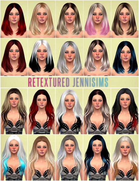Jenni Sims: Set of Skysims hairstyles retextured for Sims 4