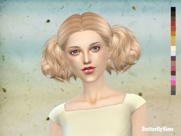 Butterflysims: Hairstyle 088 No hat for Sims 4