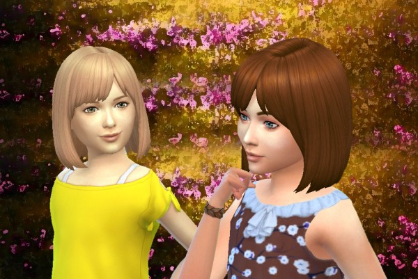 Mystufforigin: Bob Straight Bangs for Girls for Sims 4