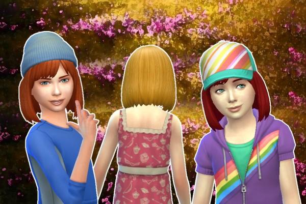 Mystufforigin: Bob Straight Bangs for Girls for Sims 4