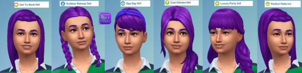 Mod The Sims: Hairstyle Set in Purple by wendy35pearly for Sims 4