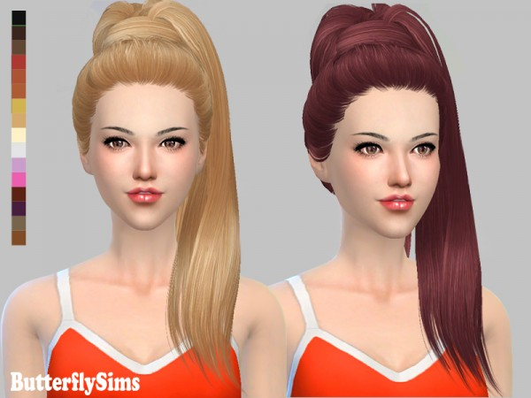 Butterflysims: Hairstyle 132   no hat for Sims 4