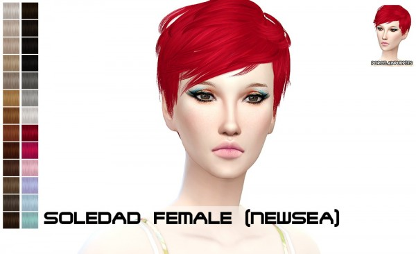 Porcelain Warehouse: Newsea`s Soledad hairstyle retextured for Sims 4