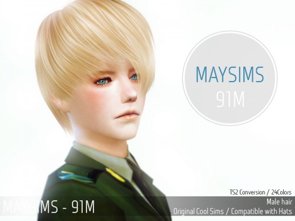 MAY Sims: May Hairstyle 91M converted from TS2 to TS4 for Sims 4