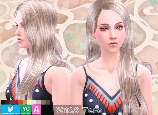 NewSea: YU129 Tera hairstyle for Sims 4