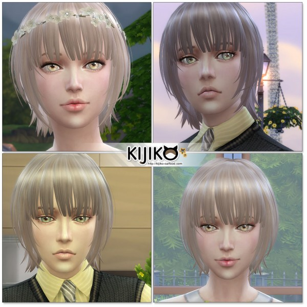 Kijiko Sims: Bob with Straight Bangs for her for Sims 4