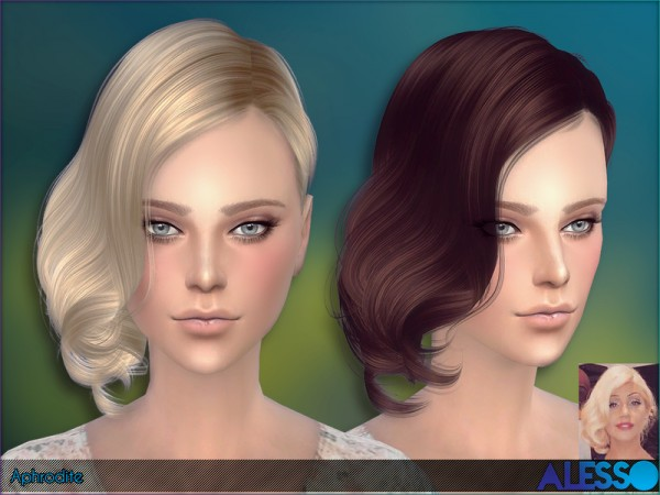 The Sims Resource: Aphrodite hairstyle by Alesso for Sims 4