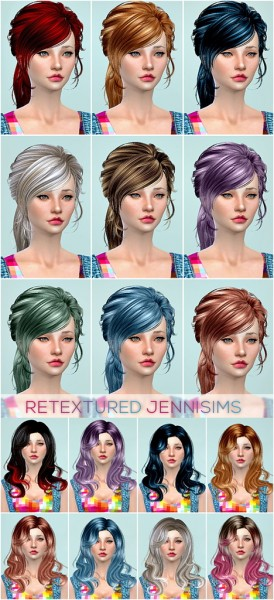 Jenni Sims: Newsea`s Lucky Star, Newsea`s Anthem hairstyles retextured for Sims 4