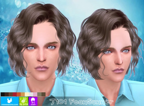 NewSea: J101 Foam Summer hairstyle for Sims 4